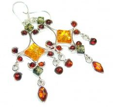 New Design!! Polish Amber Sterling Silver earrings