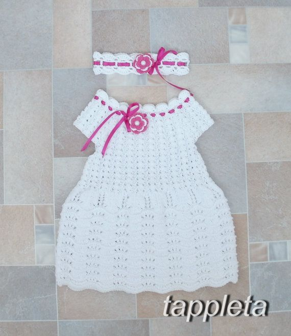 free shipping Crocheted Christening Dress baby, celebration  headband