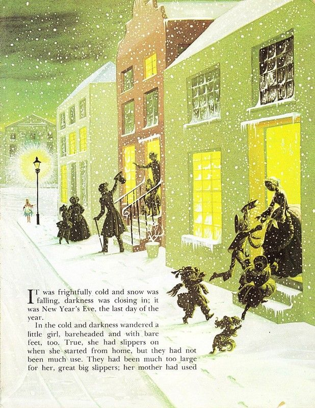 """Illustration by Janet and Anne Grahame Johnstone for """"The Little Match Girl"""", from 'A Book of Fairy Tales', published by Dean  Son Ltd. of London, 1977."""