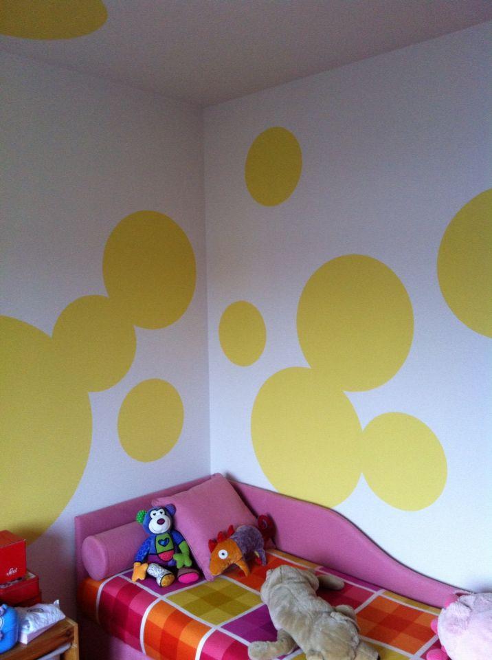 Decorazione, murale, interno, camera, cameretta, pattern, tinta, bolle, cerchi, acrilico, strisce, giallo, impatto