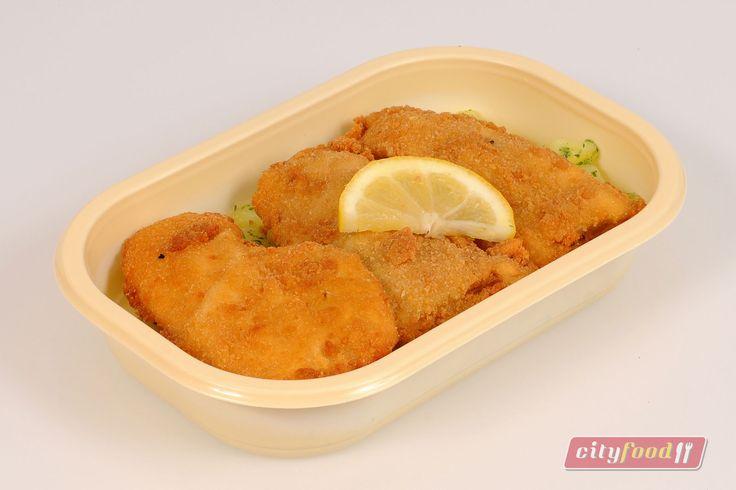 Rántott tengeri hal, petrezselymes burgonyával.  http://www.cityfood.hu/ebed-hazhozszallitas/etlap?het=201605