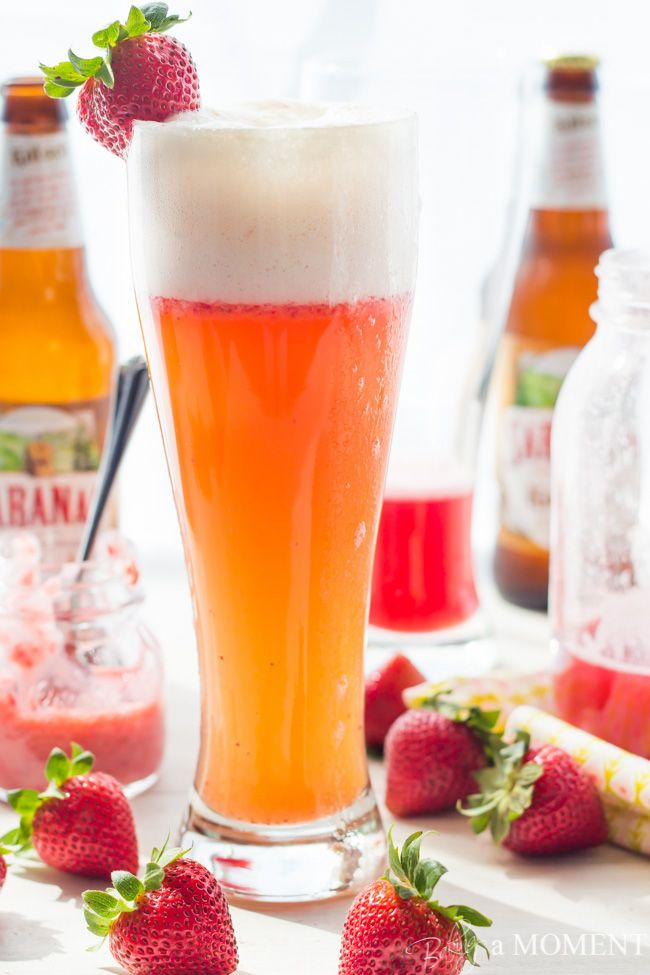 Strawberry Rhubarb Shandy - 2 ounces rhubarb syrup 2-3 strawberries, pureed (I use this mini-chopper) 1 12-ounce bottle of cold beer, such as Kolsch, IPA, witbier, or hefeweizen