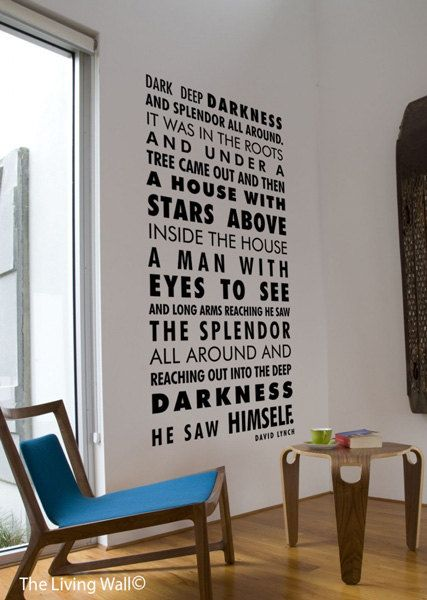 David Lynch Quote Decal Words Poem Wall Home Decor Quotes Vinyl Sticker