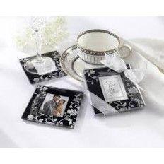 Timeless Traditon Elegant Black & White Glass Photo Coaster Favour