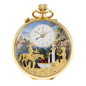 An open face musical pocket watch by Reuge.