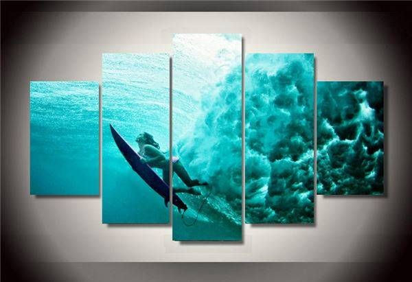 Universe Of Goods Framed Printed Surfing Underwater Group Painting Wall Art Children S