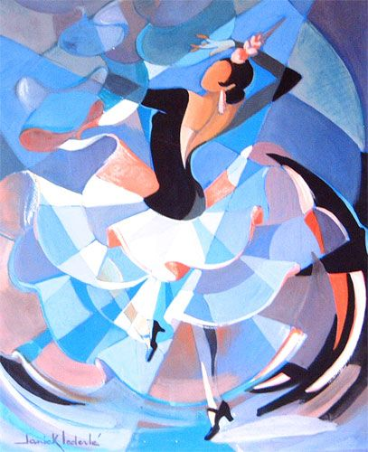 Janick Lederlé, Flamenco (1917-) Cette peintre française d'origine bretonne emploie dessin, aquarelle et peinture à l'huile pour rendre la beauté et la complexité de la danse sous toutes ses formes.