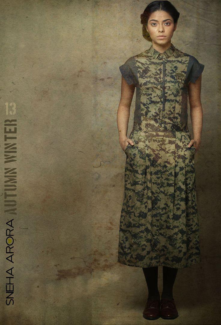 pixellated camouflage print shirt dress