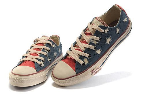 Limited Edition Converse All Star American(US) Flag Low Top Blue Rag Canvas Red Tongue
