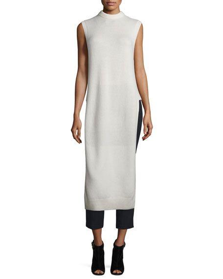 T BY ALEXANDER WANG Long Wool-Blend Dickey, Ivory, Black. #tbyalexanderwang #cloth #