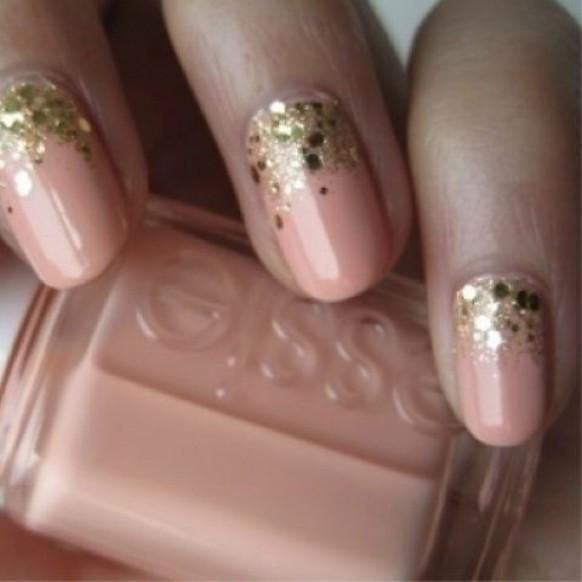 Weddbook ♥ Creative and unique wedding nail design. Peach and gold glitter half moon wedding nail design. Modern bridal nails (via cute polish) halfmoon sparkle glitter polish nail peach
