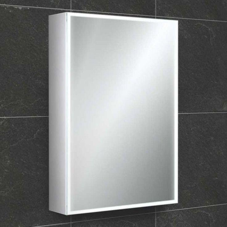 HiB Qubic 50 LED Illuminated Mirror Cabinet with Shaver Socket