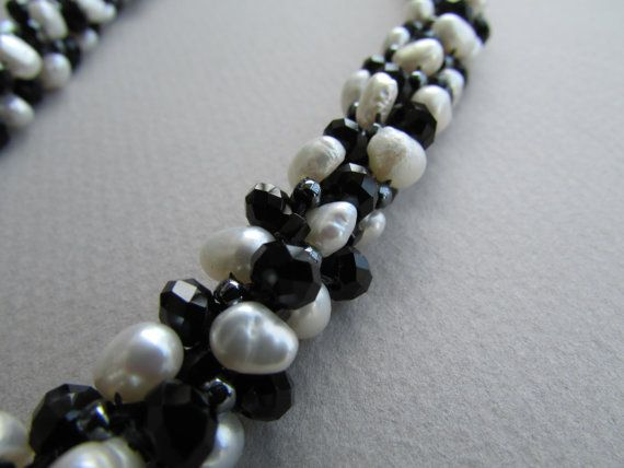 Pearl Kumihimo Necklace Black and White Necklace Pearl and