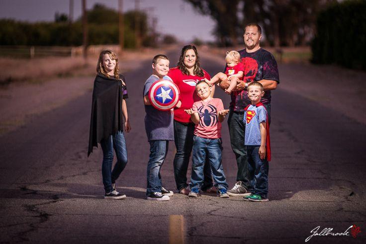 Superhero family pictures, creative lighting