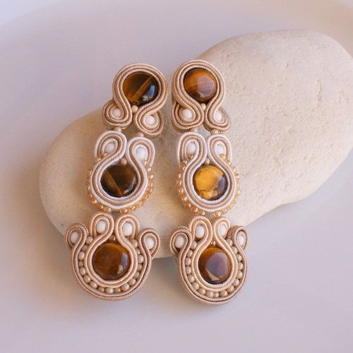SALE Classic long beige Soutache Earrings by DILETTANTEsoutache, $95.00