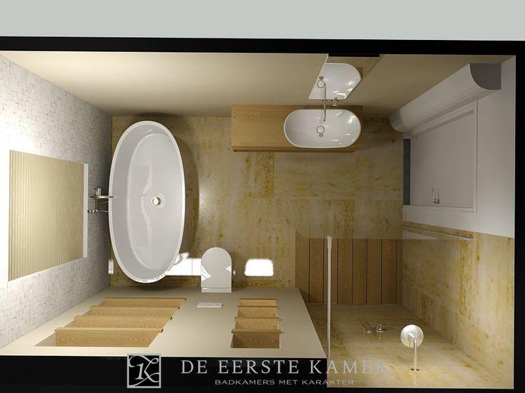 (De Eerste Kamer) Geniet van deze natuurlijke badkamer. In het badkamerontwerp zien we dat de kleuren en gebruikte materialen perfect op elkaar zijn afgestemd. Meer badkamerontwerpen vindt u op www.eerstekamerbadkamers.nl