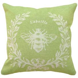 French Napoleon Bee 100% Linen Throw Pillow