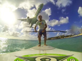 Me on my BIC paddle board under American Airlines plane!! Absolutely thrilling!!!  @GoPro @BIC SUP  #SUP #paddleboarding #standuppaddle #caribbean #stmaarten #maho #gopro