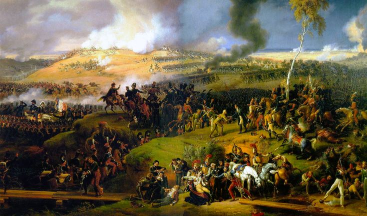 The Battle of Borodino, fought on September 7, 1812 and involving more than 250,000 troops and 70,000 casualties was a pivotal turning point in Napoleon's failed campaign to take Russia. It is vividly depicted in great detail through the plot and characters in War and Peace.  Painting by Louis-François, Baron Lejeune, 1822.