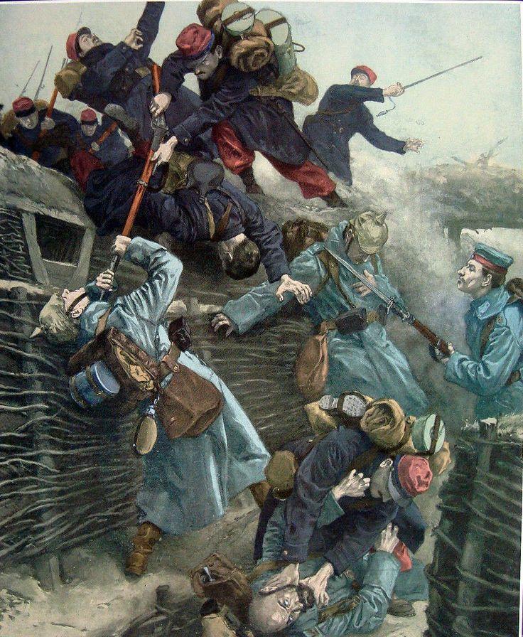 La lucha en las trincheras, 1914-1915. Artista Antonio Mayorales. Más en www.elgrancapitan.org/foro