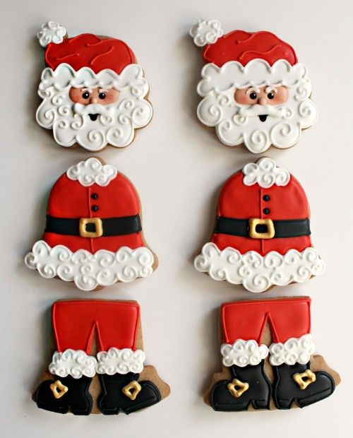Santa cookie tutorial  (elf also). These are not nearly as difficult as they look...just take a peek at the tutorial!