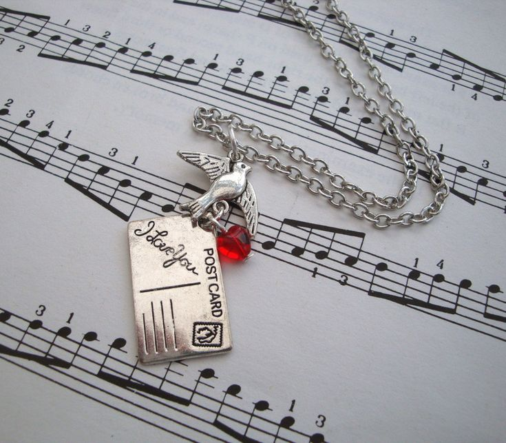 Postcard bird necklace - red heart - silver charms - I Love You message postcard by PirateTreasures on Etsy