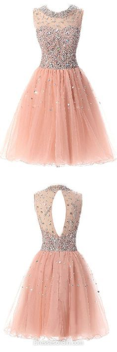 Beading Cocktail Dresses, Sparkly Prom Dresses, Short Homecoming Dress, Elegant Party Gowns, Scoop Neck Girls Dresses