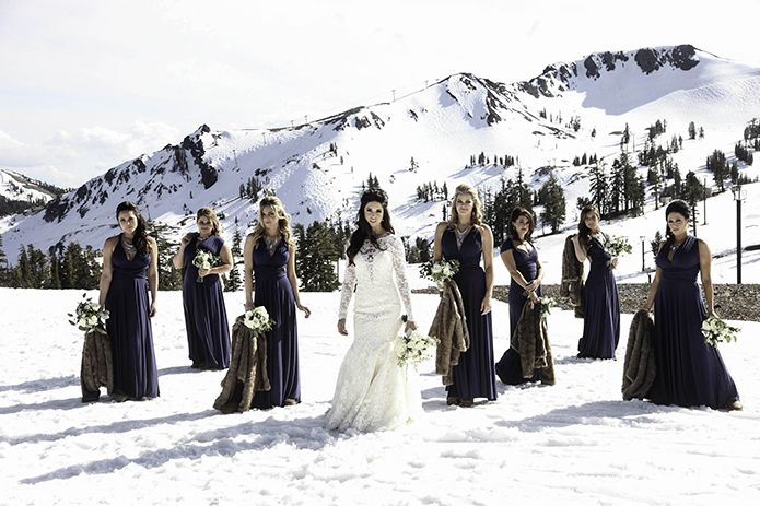 Squaw Valley Lake Tahoe Winter Wedding Bridal Party in Navy with Fur Coats…