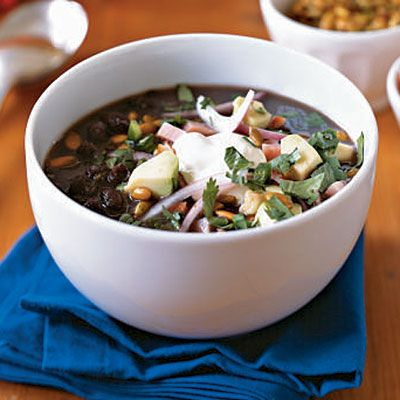 Healthy Cuban Black Bean Soup Recipe    Inspired by his Cuban mother's black bean soup, Chef Douglas Rodriguez of DeLaCosta restaurant in Chicago developed the robust flavor in this recipe for people who didn't have money to spend on meat for stock. Here we use both fresh and dried oregano because each imparts a different flavor to the final dish.