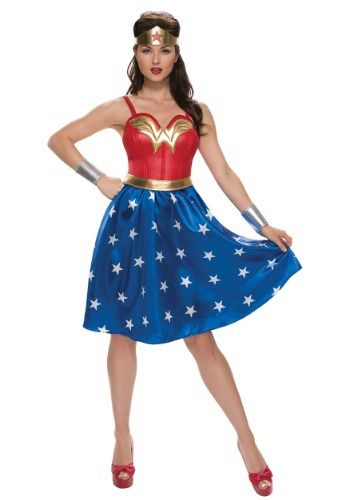 This Adult Deluxe Long Dress Wonder Woman Costume is a unique take on a classic superhero look.