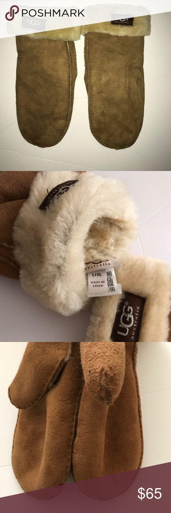 Ugg Mittens Ugg mittens  Fur cuffs * Red marking on tip of right mitten* UGG Accessories Gloves & Mittens