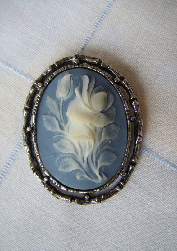 Vintage Cameo Brooch in Wedgewood Blue by onebag (LOVE)  **from: esty.com