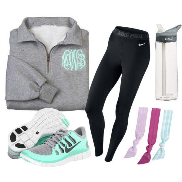 """""""Sporty prep."""" by southern-tide on Polyvore grey monogram half-zip black Nike running leggings teal sneakers"""