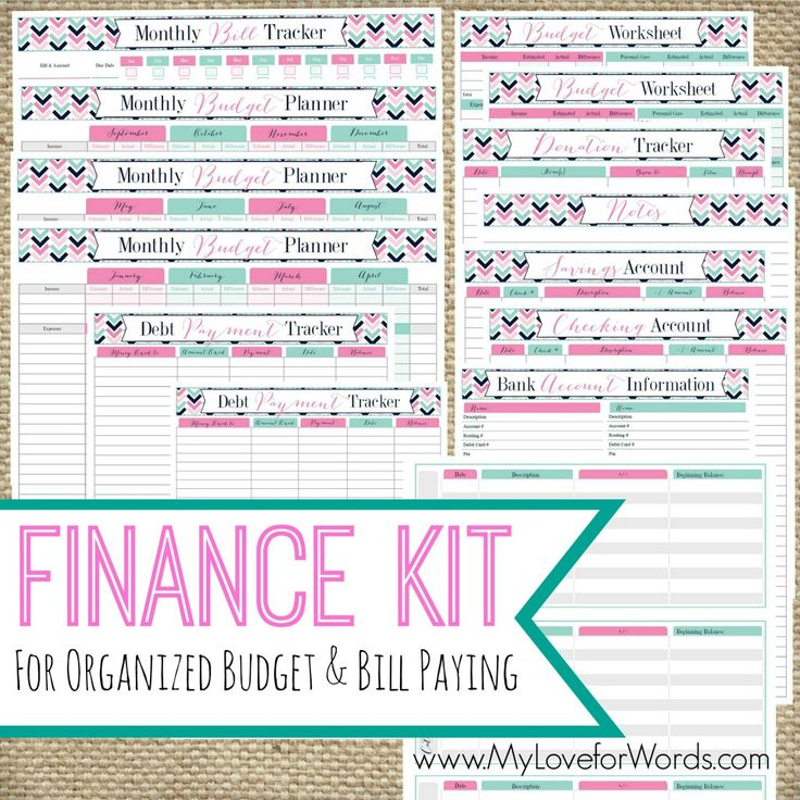 1000 images about finance on pinterest the end 52 week for Home finance bill organizer template