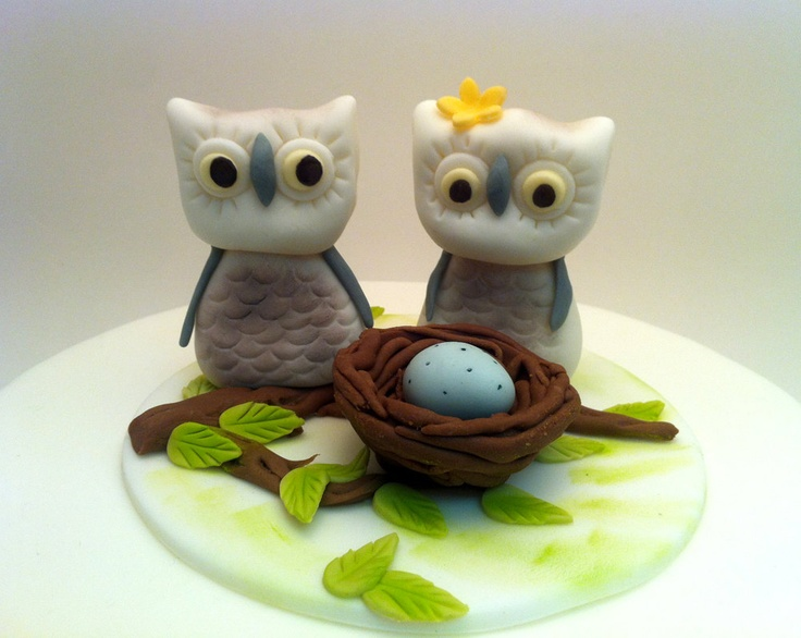 Edible Baby Shower Cake Decoration Winter Owls with baby on a nest Cake Decoration - Mom to Be cute decorations