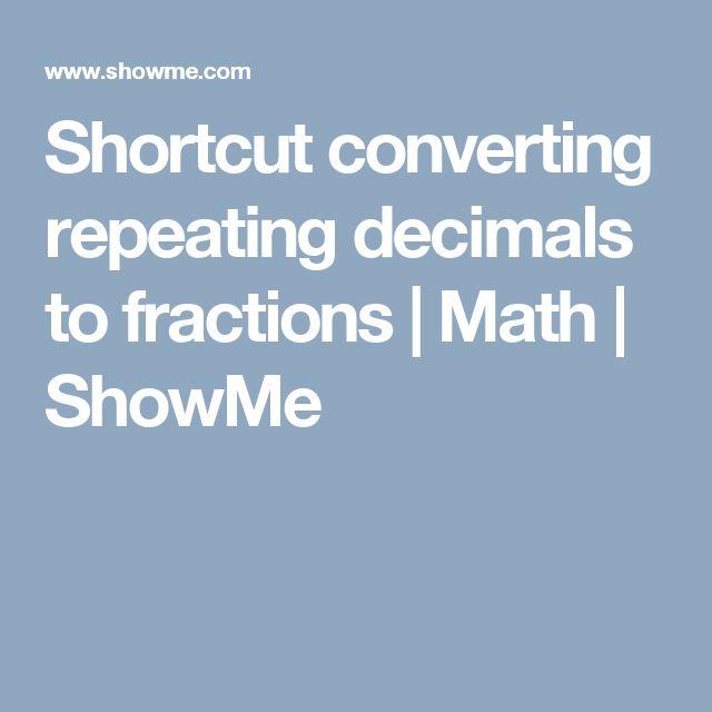 Shortcut converting repeating decimals to fractions | Math | ShowMe