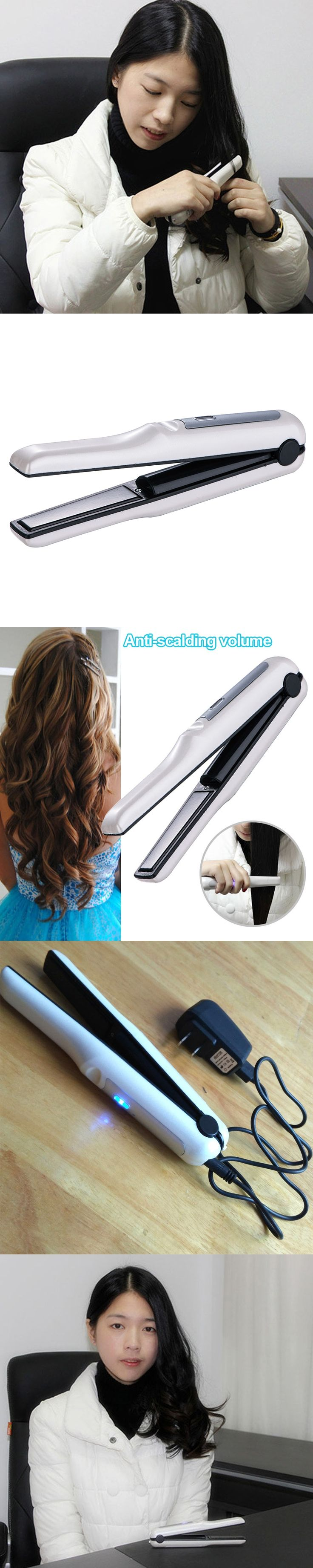 Portable Mini Flat Iron Hair Straightener Iron 2 in 1 Hair Curler USB Charge Hair Tools @ME88