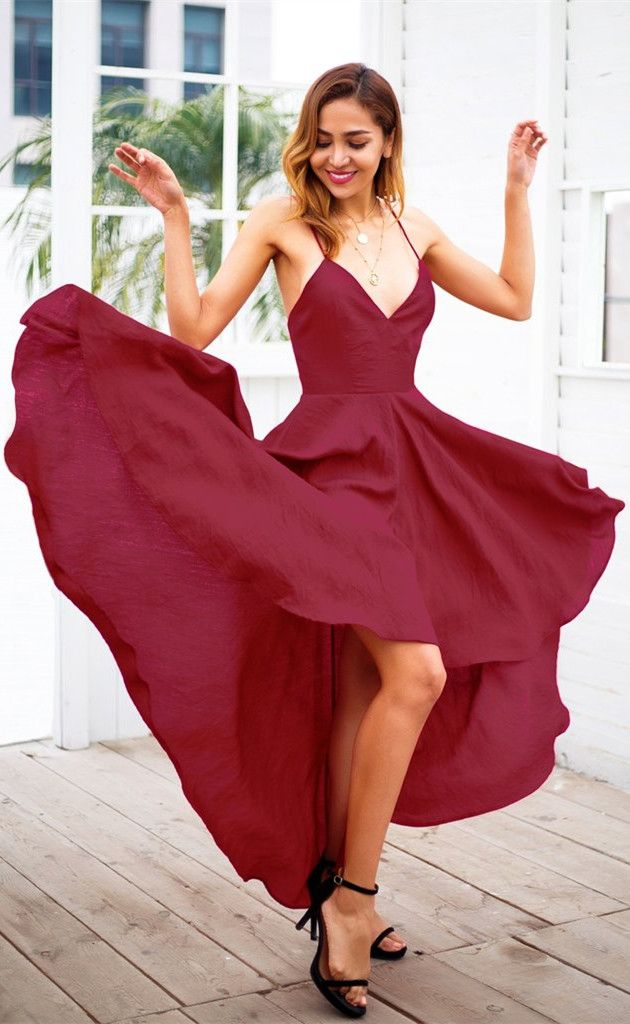 0220e1eced1 Sexy V-neck Long Chiffon Burgundy Prom Dress with Slit from ...