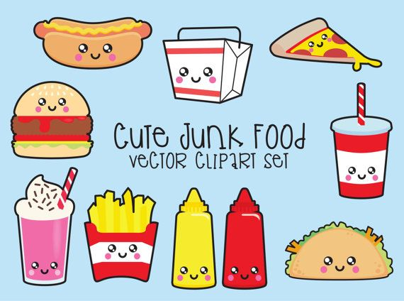 Premium Vector Clipart - Kawaii Junk Food Clipart - Kawaii Food Clip Art Set - High Quality Vectors - Instant Download - Kawaii Clipart