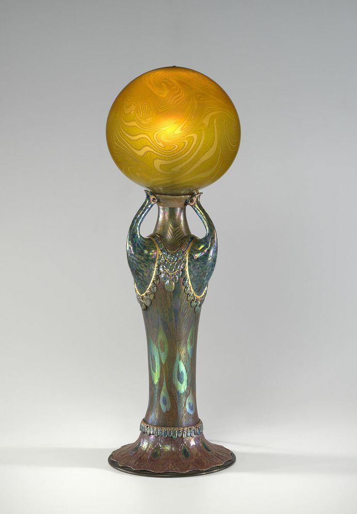 Tiffany Studios, New York, Favrile Glass, Enameled And Patinated Bronze Lamp