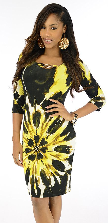 Chirp-$26.80-Birds will sing and men will rejoice when you step out in this style savvy dress. A bold graphic print graces the satiny fabric. The scoop neckline features thin straps accented by metallic details for a chic look.