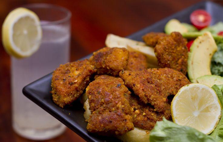 Chicken Nuggets    Ingredients:  1 pound of organic free range chicken (500g)  Turmeric  Himalayan Salt  Almonds (use hemp seeds as nut alternative)   Cayenne Pepper  Egg