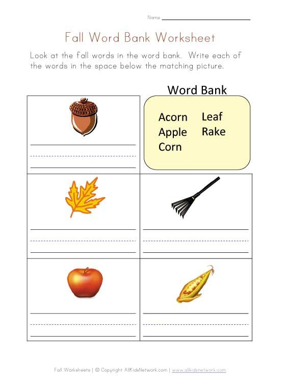 Worksheets Word Bank Worksheet fall word bank worksheet crafts and worksheets pinterest worksheet
