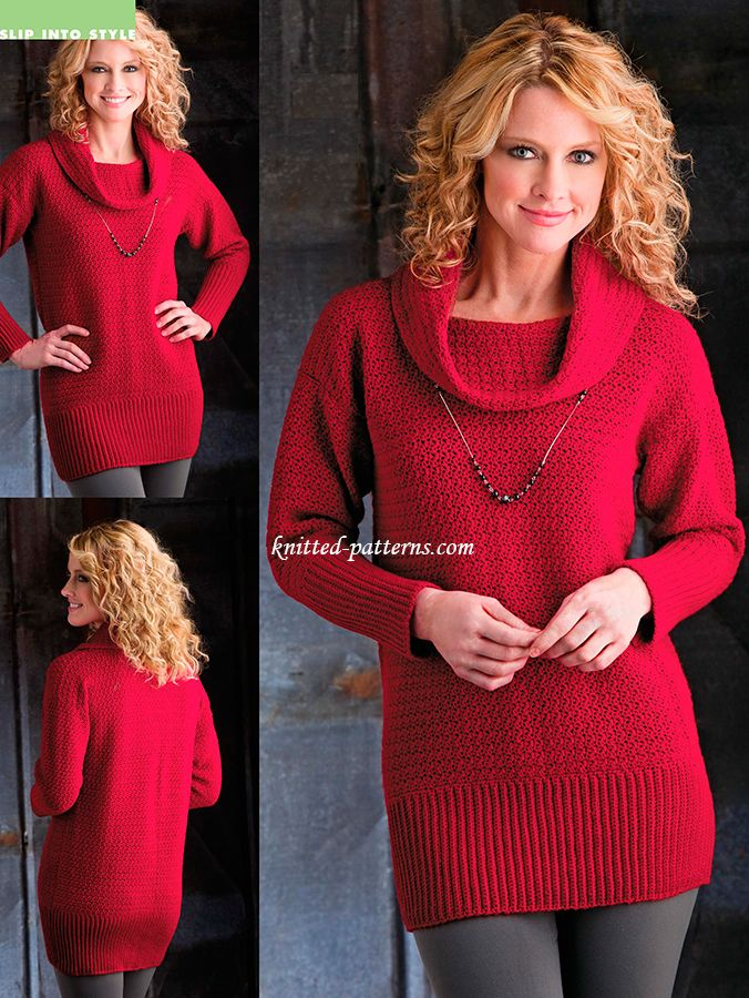 Cranberry sweater tunic - free crochet pattern ~ k8~