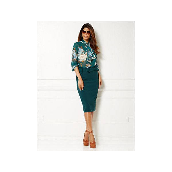 Eva Mendes Collection - Kayla Blouse - Floral Print ($50) ❤ liked on Polyvore featuring tops, blouses, chiffon blouse, long sleeve tops, white blouse, flounce bikini top and chiffon top