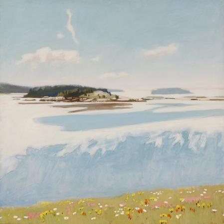 """""""Blue Landscape,"""" Fairfield Porter, 1974, oil on canvas, 45 7/8 x 45 7/8"""", Parrish Art Museum."""