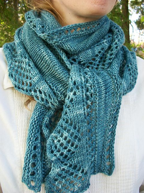 This one-skein shawl/scarf is perfect for any season. It's a portable project that won't seem like it goes on forever, because each row gets shorter!    Pattern: http://www.ravelry.com/patterns/library/marrowstone-shawl    Fiber: Valley Yarns Charlemont Kettle Dye www.yarn.com