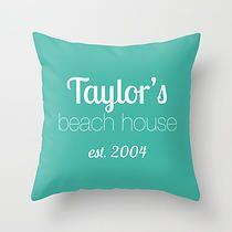 Personalized Pillow Cover, beach house housewarming gift
