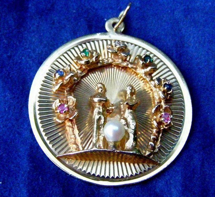 Vintage 14k Yellow Gold Wedding Bride & Groom Charm for Bracelet Engraveable #Unbranded