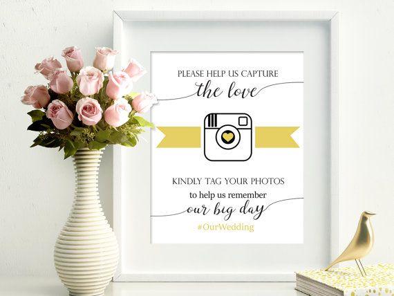 Wedding hashtag printable sign social media by PrintableEventsCo